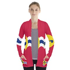 Flag Of St Women s Open Front Pockets Cardigan(p194)