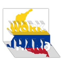 Flag Map Of Colombia Work Hard 3d Greeting Card (7x5)