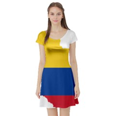 Flag Map Of Colombia Short Sleeve Skater Dress