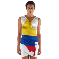 Flag Map Of Colombia Wrap Front Bodycon Dress