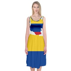Flag Map Of Colombia Midi Sleeveless Dress