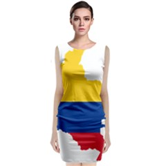 Flag Map Of Colombia Classic Sleeveless Midi Dress