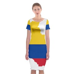 Flag Map Of Colombia Classic Short Sleeve Midi Dress