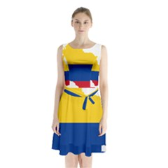 Flag Map Of Colombia Sleeveless Waist Tie Dress