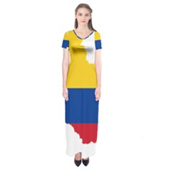Flag Map Of Colombia Short Sleeve Maxi Dress