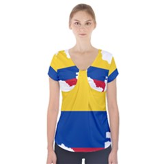 Flag Map Of Colombia Short Sleeve Front Detail Top