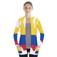 Flag Map Of Colombia Women s Open Front Pockets Cardigan(p194)