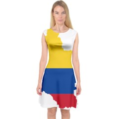 Flag Map Of Colombia Capsleeve Midi Dress