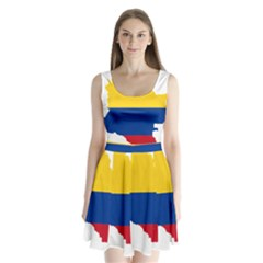 Flag Map Of Colombia Split Back Mini Dress