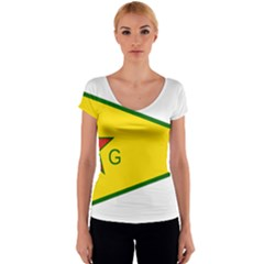Flag Of The People s Protection Units Women s V-Neck Cap Sleeve Top