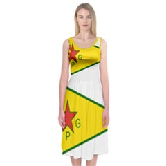Flag Of The People s Protection Units Midi Sleeveless Dress
