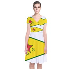 Flag Of The People s Protection Units Short Sleeve Front Wrap Dress