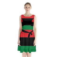 Pan African Flag  Sleeveless Waist Tie Dress