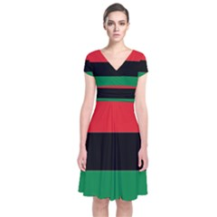 Pan African Flag  Short Sleeve Front Wrap Dress