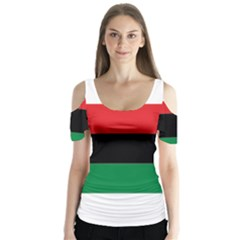 Pan African Flag  Butterfly Sleeve Cutout Tee