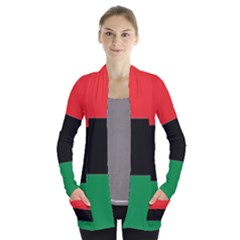 Pan African Flag  Women s Open Front Pockets Cardigan(P194)