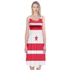 Flag Of Washington, Dc  Midi Sleeveless Dress