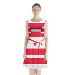 Flag Of Washington, Dc  Sleeveless Waist Tie Dress
