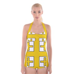Jerusalem Cross Boyleg Halter Swimsuit