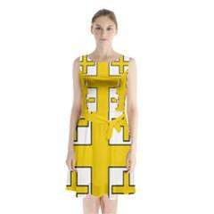 Jerusalem Cross Sleeveless Waist Tie Dress
