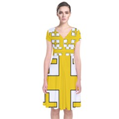 Jerusalem Cross Short Sleeve Front Wrap Dress