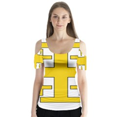 Jerusalem Cross Butterfly Sleeve Cutout Tee