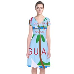 Seal Of Guam Short Sleeve Front Wrap Dress