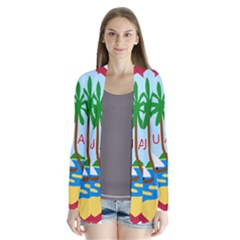 Seal Of Guam Drape Collar Cardigan
