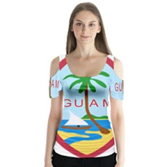 Seal Of Guam Butterfly Sleeve Cutout Tee