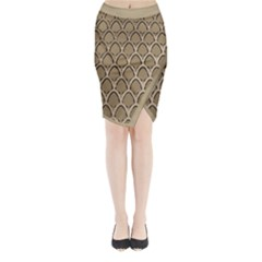 Gold Arches Midi Wrap Pencil Skirt