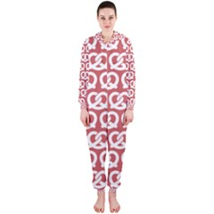 Trendy Pretzel Illustrations Pattern Hooded Jumpsuit (Ladies)