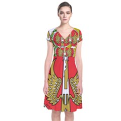 Seal of Yogyakarta  Short Sleeve Front Wrap Dress