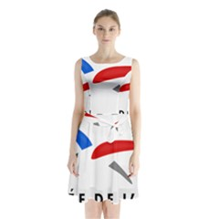 Logo Of The French Air Force  Sleeveless Waist Tie Dress