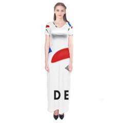 Logo Of The French Air Force  Short Sleeve Maxi Dress