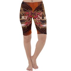 Surfing, Surfboard With Floral Elements  And Grunge In Red, Black Colors Cropped Leggings