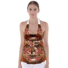 Surfing, Surfboard With Floral Elements  And Grunge In Red, Black Colors Babydoll Tankini Top
