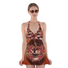 Surfing, Surfboard With Floral Elements  And Grunge In Red, Black Colors Halter Swimsuit Dress