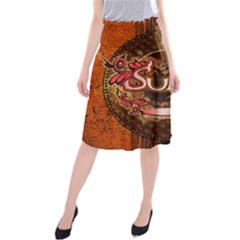Surfing, Surfboard With Floral Elements  And Grunge In Red, Black Colors Midi Beach Skirt