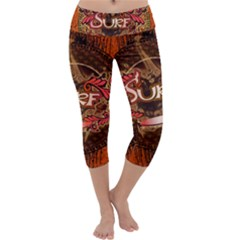 Surfing, Surfboard With Floral Elements  And Grunge In Red, Black Colors Capri Yoga Leggings