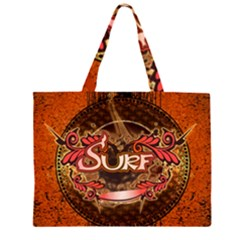 Surfing, Surfboard With Floral Elements  And Grunge In Red, Black Colors Large Tote Bag