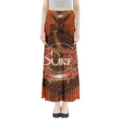 Surfing, Surfboard With Floral Elements  And Grunge In Red, Black Colors Maxi Skirts