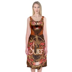 Surfing, Surfboard With Floral Elements  And Grunge In Red, Black Colors Midi Sleeveless Dress