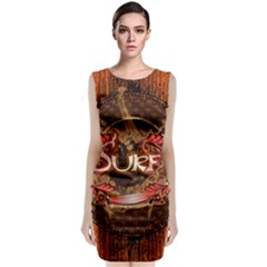 Surfing, Surfboard With Floral Elements  And Grunge In Red, Black Colors Classic Sleeveless Midi Dress