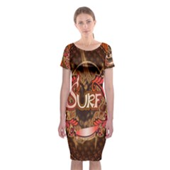 Surfing, Surfboard With Floral Elements  And Grunge In Red, Black Colors Classic Short Sleeve Midi Dress