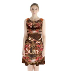 Surfing, Surfboard With Floral Elements  And Grunge In Red, Black Colors Sleeveless Waist Tie Dress
