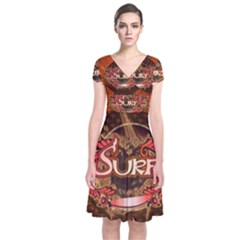 Surfing, Surfboard With Floral Elements  And Grunge In Red, Black Colors Short Sleeve Front Wrap Dress