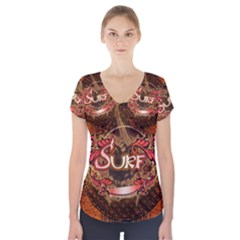 Surfing, Surfboard With Floral Elements  And Grunge In Red, Black Colors Short Sleeve Front Detail Top