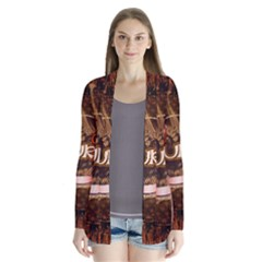 Surfing, Surfboard With Floral Elements  And Grunge In Red, Black Colors Drape Collar Cardigan