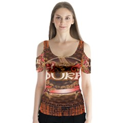 Surfing, Surfboard With Floral Elements  And Grunge In Red, Black Colors Butterfly Sleeve Cutout Tee
