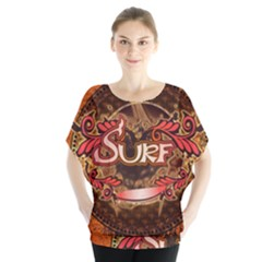 Surfing, Surfboard With Floral Elements  And Grunge In Red, Black Colors Blouse